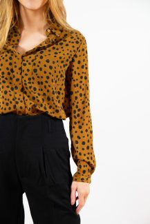 camel spotted blouse