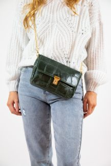 green & gold chain bag