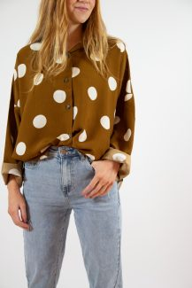 brown polka dot blouse