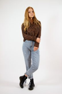 orange leopard blouse