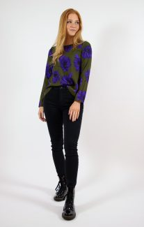 purple flower blouse