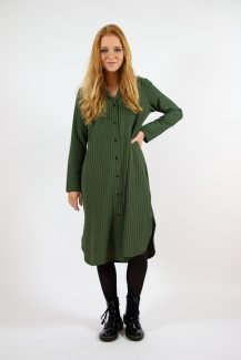 kaki striped shirt dress