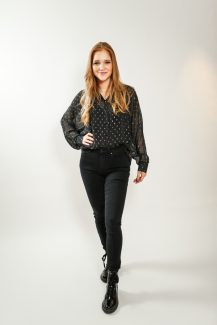 gold spotted flowy blouse
