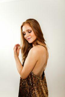 golden open back dress