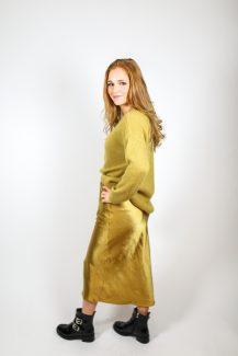 golden satin skirt