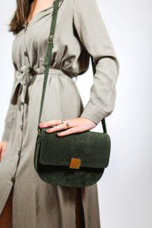 kaki leather bag