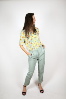 mint green trousers