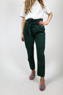green rib trousers