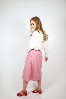 pink cotton midi skirt