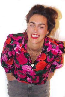fuchsia floral blouse
