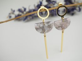 small pink & grey drop earrings