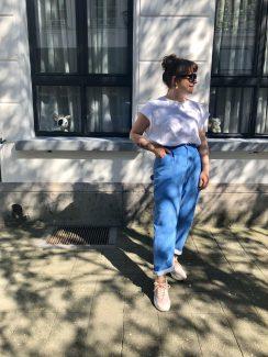 blue rib trousers