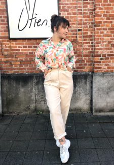 beige rib trousers